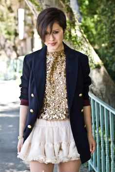 Sequined gold blouse from American Rag, vintage navy blue blazer, Topshop tutu-esque skirt, shoes by Prada..