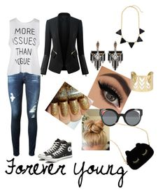 """""""Forever young """" by mary-electra on Polyvore featuring Fendi, Lulu Frost, WithChic, AG Adriano Goldschmied and Converse"""