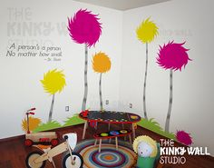 Children Wall Decals Wall Sticker - Lorax Truffula Trees Wall decal - Dr seuss - 141 on Etsy, $118.00