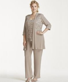 Beautiful Plus Size Mother of The Bride Pant Suits - Beautiful beige lace 3 piece plus size mother of bride pant suit with three quarter sleeve jacket by David's Bridal (click on image to buy)