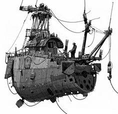 Some sort of flying boat. Prop Design, Boat Design, Dirigible Steampunk, Flying Ship, Boat Illustration, Floating Boat, Sci Fi Models, Spaceship Concept, Science Fiction