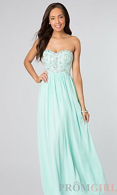 Beaded Strapless Prom Dress at PromGirl.com