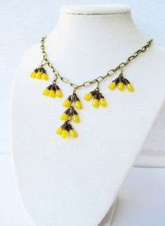 Mustard Yellow Wire Wrapped Glass Drop