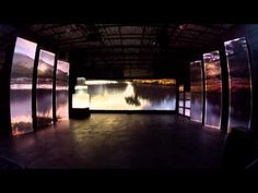 Here you can see how 3-D projection mapping is used to project images on multiple screens at different angles.