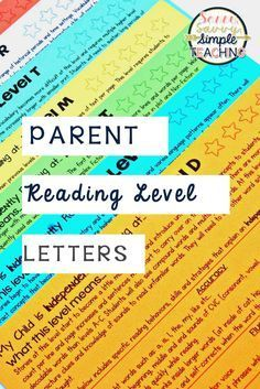 These parent reading level letters help to explain the characteristics of students independent and instructional reading levels. Great for conferences and to model for parents!