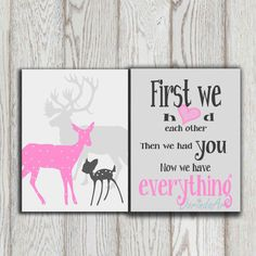 Pink gray Nursery art poster print Printable Deer family Baby shower gift Little girl bedroom decor First we had each other INSTANT DOWNLOAD on Etsy, $8.50