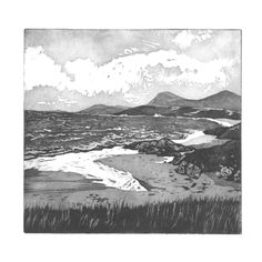 View From Seilebost, Outer Hebrides. Limited edition etching and aquatint by Lorraine Tolmie. www.lorrainetolmie.co.uk
