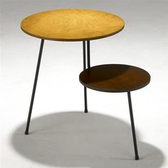 """Two tiered side table (prototype)"" by Mario Dal Fabbro. Ash laminate, metal, enamel and stain."