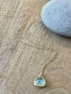 Aquamarine Necklace Aquamarine Jewelry March by LetItBeLove