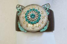 Time On My Hands Assemblage Cuff Bracelet, Vintage Timepiece Cuff, Filagree Butterfly Cuff, Rhinestone Button Cuff