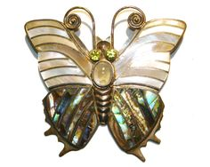 Gorgeous Sterling Butterfly Inlay Peridot Pin Pendant Sajen Offerings OOAK AKR #SajenOfferings