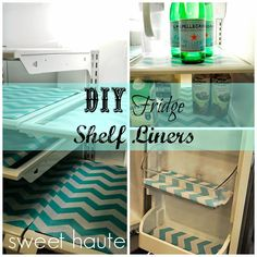DIY Refrigerator Shelf Liners - how to make fridge coasters with any old place mats and shelf liner