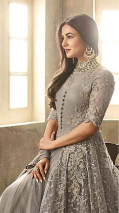 Sequins and Stone Work Grey High Netted Anarkali Suit