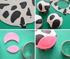 Koeien cupcakes Fondant Figures, Cow Cupcakes, Farm Cake, Farm Birthday, Farm Party, Baby Shower Gender Reveal, Food Hacks, Food Tips, 1st Birthdays