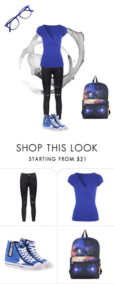 """Blue day at school"" by mariapizzuto on Polyvore featuring moda, Golden Goose e Hot Topic"