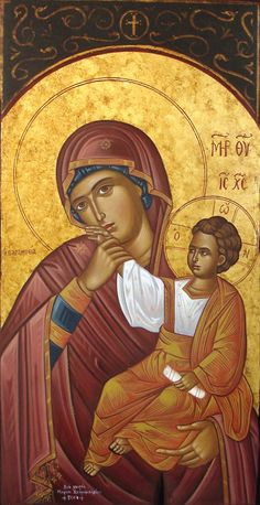 Icon of Panagia and Xristouli Religious Pictures, Religious Icons, Religious Art, Byzantine Icons, Byzantine Art, Blessed Mother Mary, Blessed Virgin Mary, Religion, Images Of Mary