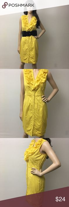 Beautiful Sunrise Yellow Ruffled Dress  Perfect summer dress. Doll it up with with a big dress belt. It buttons all the way down the front.  Calvin Klein Dresses