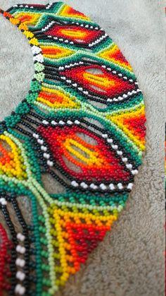 Embera Handmade Necklace | Etsy Seed Bead Jewelry, Seed Beads, Beaded Jewelry, Beading Patterns Free, Bead Loom Patterns, Art Perle, Beaded Crafts, Native American Beadwork, Loom Beading