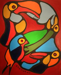 Norval Morrisseau-Unity of Spirit Native Canadian, Canadian Artists, Native American Paintings, Native American Art, Choses Cool, Woodland Art, Les Religions, Meet The Artist, Art Themes