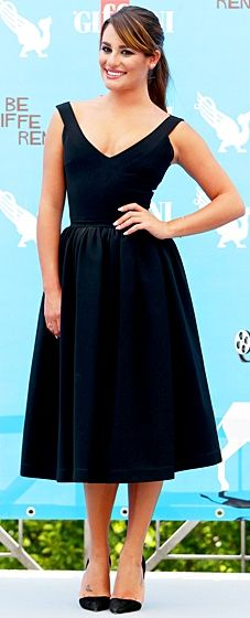 Classically beautiful! The Glee star wore a ladylike LBD by Preen with Jean Michel Cazabat pumps.
