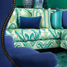 that royal, regal blue!   want to grab the camera & turn it toward the wing chair: how gorgeous & comfortable it must be!     (belle maison: 'five things' friday)