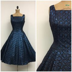 1950s Lace Party Dress 50s Blue Metallic on Etsy, $250.00
