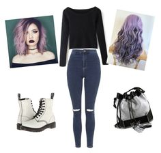 """Little bit of goth "" by jbeanz ❤ liked on Polyvore featuring Topshop, Carianne Moore and Dr. Martens"