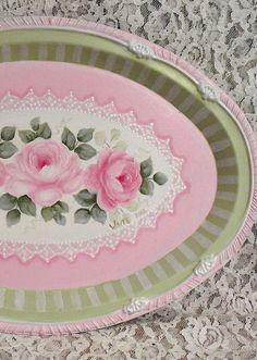 Cottage Chic HP Roses Beautiful Romantic Tray Shabby Victorian Faux Doily. $24.99, via Etsy.