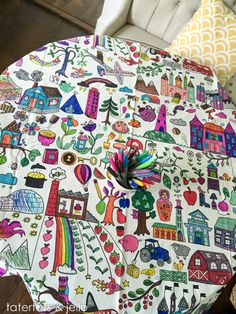 Easy Kids' Activity: IKEA Fabric Tablecloth Coloring! -- Tatertots and Jello
