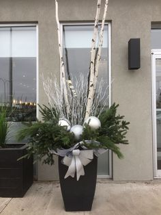 Created by myself, Danielle Leroux, located at the entrance of St-Laurent Trends where I work. Created by myself, Danielle Leroux, located at the entrance of St-Laurent Trends where I work. Outdoor Christmas Planters, Christmas Urns, Outdoor Christmas Decorations, Christmas Centerpieces, Christmas Time, Christmas Wreaths, Christmas Crafts, Holiday Decor, Winter Planter