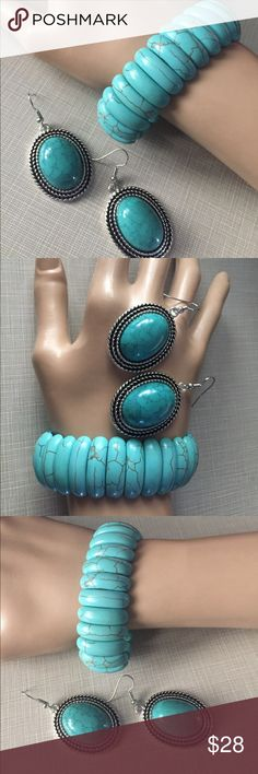"""Beautiful turquoise set Handcrafted artisan turquoise stretchy bracelet fits to 8"""" wrists earrings are approximately 2"""" long very pretty Nwot Jewelry Necklaces"""