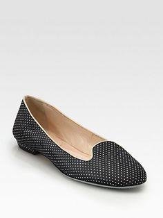 Giorgio Armani - Polka Dot Satin & Patent Leather Smoking Slippers - Saks.com