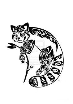 Red Panda Awareness Tribal by SolitaryEssence. Red panda tattoo.