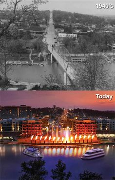 Downtown Branson, Missouri: 1940s vs. today. I liked the way it was before they destroyed the quaintness of the lakefront.
