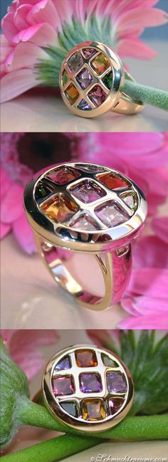 Gorgeous Multicolor Gemstone Ring, 4.31 ct. YG-14K - Visit: schmucktraeume.com Like: https://www.facebook.com/pages/Noble-Juwelen/150871984924926 Mail: info[at]schmucktraeume.com