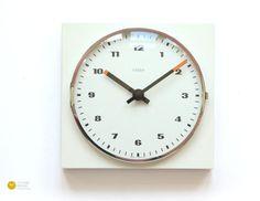 Space Age KIENZLE Wall Clock - BAUHAUS Panton Minimal Modern Plastic Atomic Germany mcm White 60s 70s
