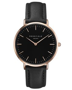 THE BOWERY - rose gold & black leather watch