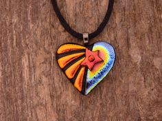 Dichroic Fused Glass Heart Necklace by PureLightStudio on Etsy, $28.00