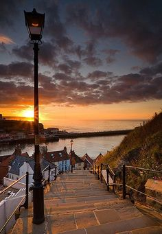 Sunset in Whitby, England.