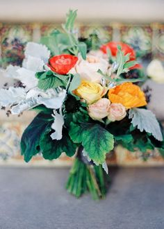 bright rose bridal bouquet   photos by Whitney Neal   100 Layer Cake