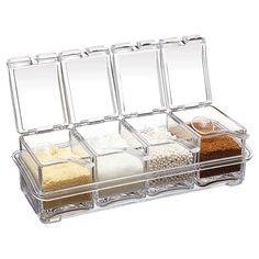 4pcs Transparent Seasoning Salt Jar Storage Box Kitchen Spice Sugar Storage Box Jar - Banggood Mobile