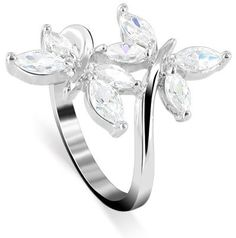 Nickel Free Sterling Silver Marquise Shaped Cubic Zirconia Polished Finish Rhodium Plated 3mm Band Butterfly Ring Size 5, 6, 7, 8, 9, 10: Jewelry: Amazon.com