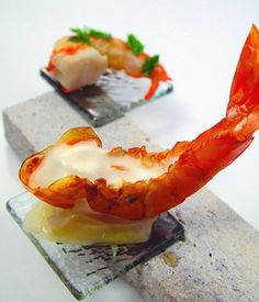 Custom made small transparent square appetizer glass plates attached to rectangular holder for shrimp appetizer presentation or for amuse bouche in fine dining presentation by Glass Studio, via Flickr