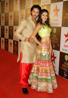 Television actors Hiba Nawab and Dhruv Bhandari during the Star Parivaar Awards 2015