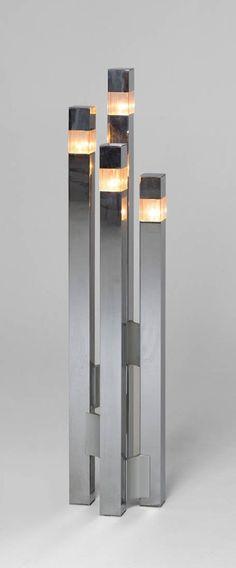 Gaetano Sciolari; Chromed Metal and Lucite Floor Lamp, c1970.