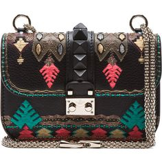 Valentino Garavani Glam Small Lock Embroidered Leather Bag ($1,900) ❤ liked on Polyvore featuring bags, handbags, shoulder bags, clutches, valentino, black, valentino purses, black shoulder bag, leather shoulder bag and black leather shoulder bag