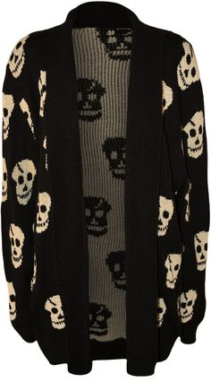 PaperMoon Women's Skull Long Sleeve Knitted Cardigan