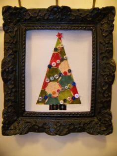 Framed Christmas tree wall decor Christmas Projects, Christmas Stuff, Christmas Holidays, Fabric Christmas Trees, Christmas Decorations, Tree Wall Decor, All Craft, Ghana, Holiday Ideas