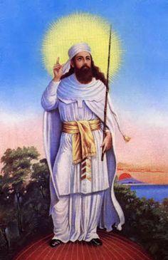 Zarathustra; The great illuminated sage who founded the Zoroastrian religion around 500 BC, with glowing halo.