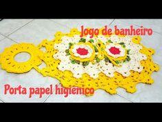 Jogo de banheiro em crochê com barrado duplo - Porta papel higiênico - YouTube